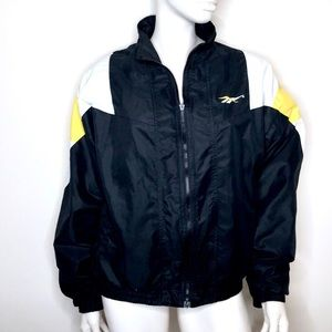Reebok   Vintage 80s black and yellow windbreaker